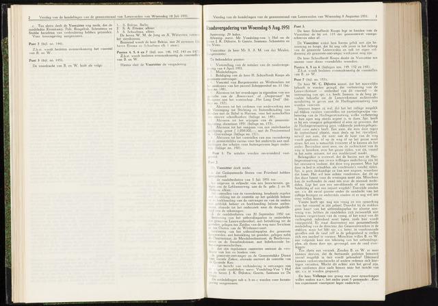 Raadsverslagen van de gemeente Leeuwarden, 1865-2007 (Notulen) 1951-08-08