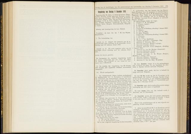 Raadsverslagen van de gemeente Leeuwarden, 1865-2007 (Notulen) 1919-12-09