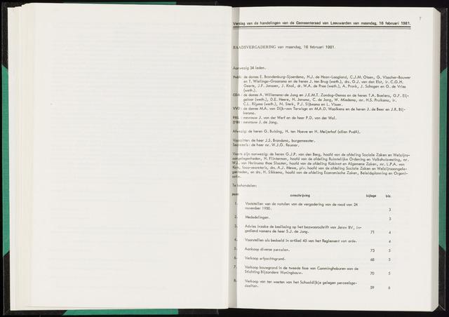 Raadsverslagen van de gemeente Leeuwarden, 1865-2007 (Notulen) 1981-02-16