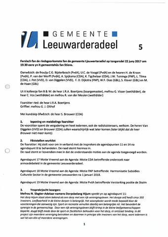 Notulen van de gemeenteraad van Leeuwarderadeel 2017-09-07