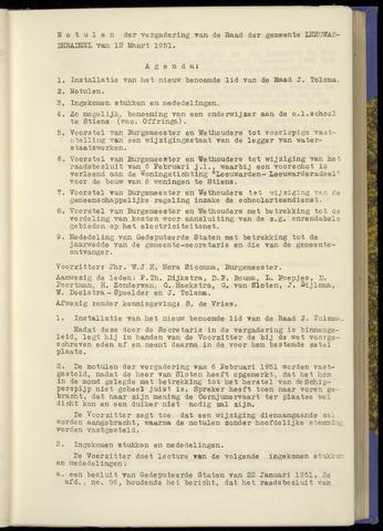 Notulen van de gemeenteraad van Leeuwarderadeel 1951-03-12
