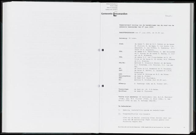Raadsverslagen van de gemeente Leeuwarden, 1865-2007 (Notulen) 2005-06-27
