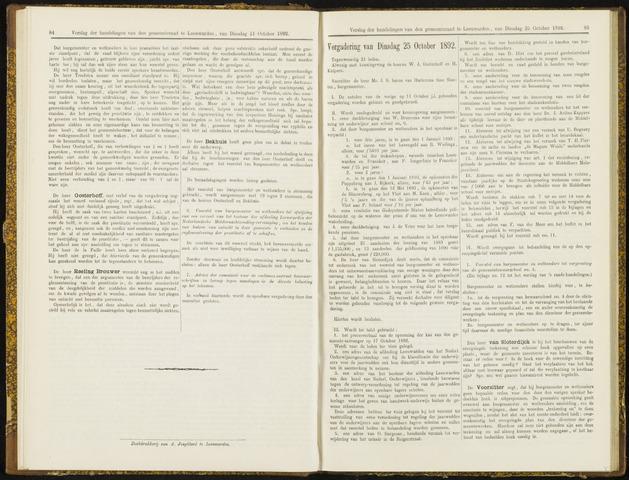Raadsverslagen van de gemeente Leeuwarden, 1865-2007 (Notulen) 1892-10-25