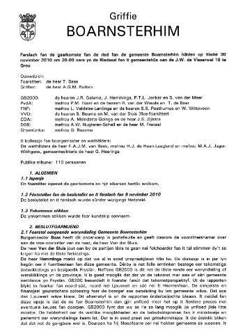 Boarnsterhim vergaderstukken gemeenteraad  2010-12-01