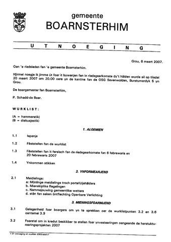 Boarnsterhim vergaderstukken gemeenteraad  2007-03-20