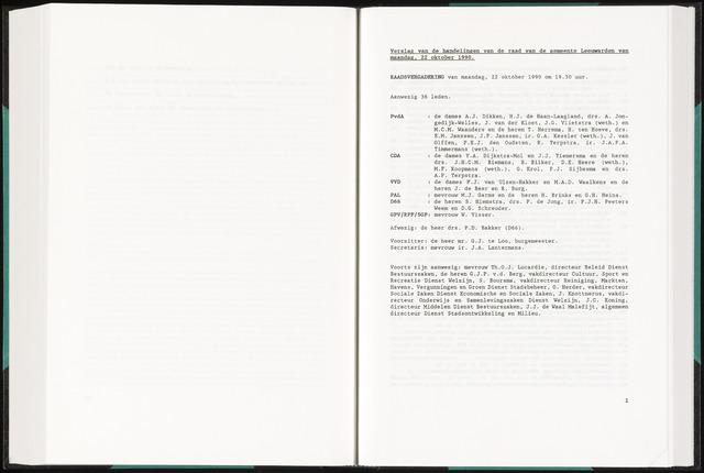 Raadsverslagen van de gemeente Leeuwarden, 1865-2007 (Notulen) 1990-10-22