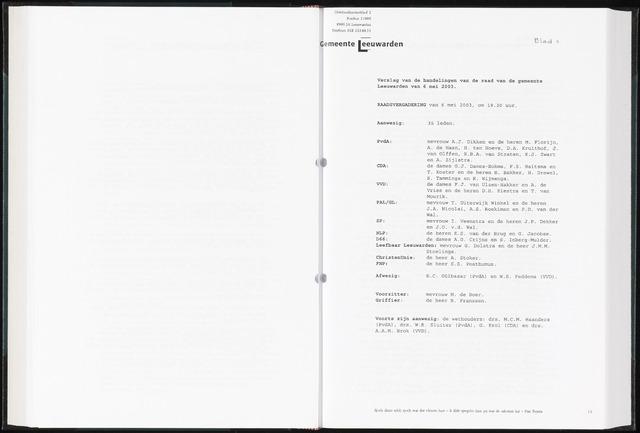 Raadsverslagen van de gemeente Leeuwarden, 1865-2007 (Notulen) 2003-05-06
