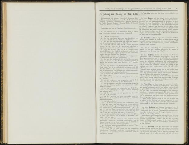 Raadsverslagen van de gemeente Leeuwarden, 1865-2007 (Notulen) 1903-06-23