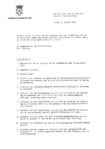 Boarnsterhim vergaderstukken gemeenteraad  1984-10-16