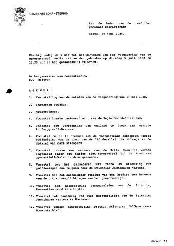 Boarnsterhim vergaderstukken gemeenteraad  1988-07-05
