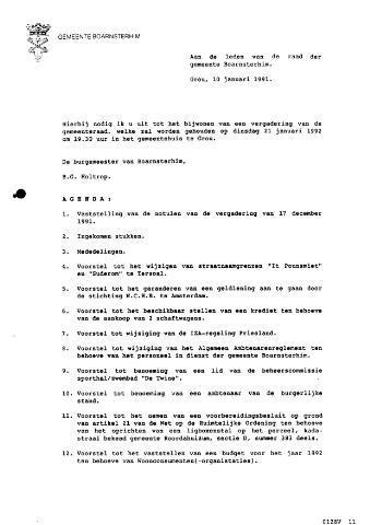 Boarnsterhim vergaderstukken gemeenteraad  1992-01-21