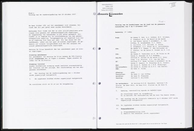 Raadsverslagen van de gemeente Leeuwarden, 1865-2007 (Notulen) 2007-11-05