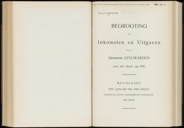 Raadsverslagen van de gemeente Leeuwarden, 1865-2007 (Bijlagen) 1931-01-01