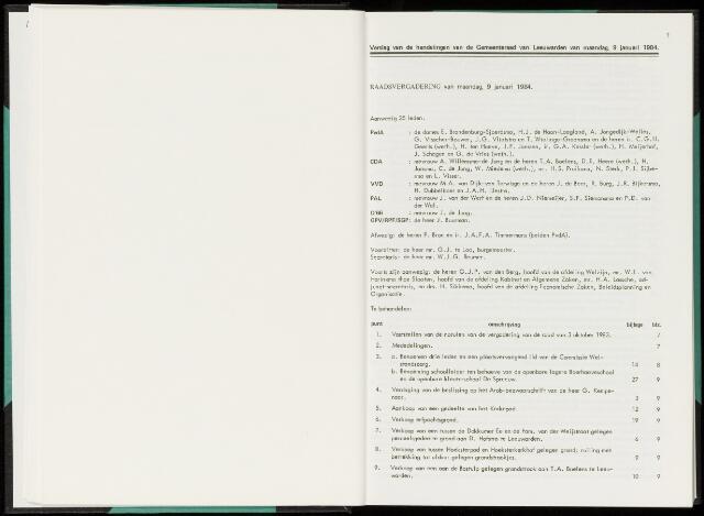Raadsverslagen van de gemeente Leeuwarden, 1865-2007 (Notulen) 1984