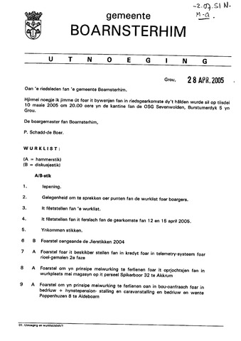 Boarnsterhim vergaderstukken gemeenteraad  2005-05-10