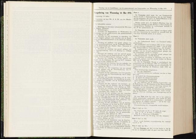 Raadsverslagen van de gemeente Leeuwarden, 1865-2007 (Notulen) 1951-05-16