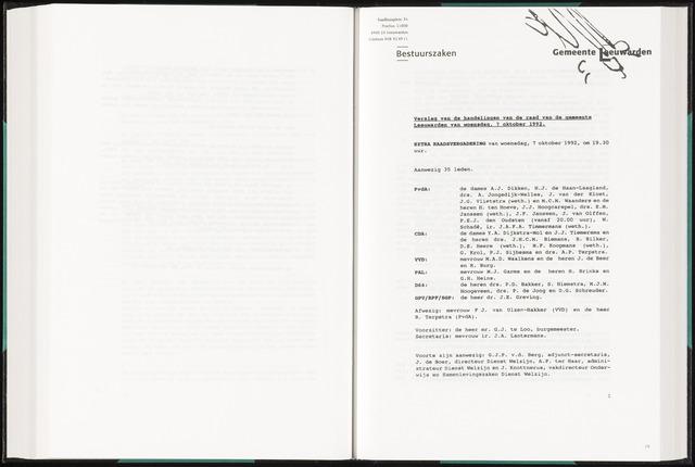 Raadsverslagen van de gemeente Leeuwarden, 1865-2007 (Notulen) 1992-10-07