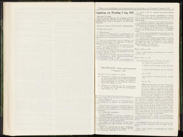 Raadsverslagen van de gemeente Leeuwarden, 1865-2007 (Notulen) 1950-08-09