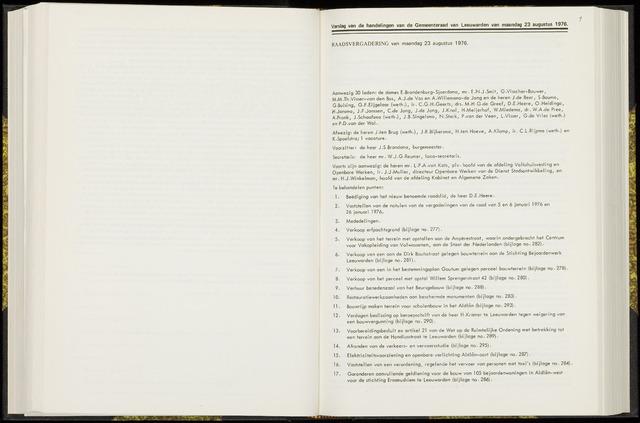Raadsverslagen van de gemeente Leeuwarden, 1865-2007 (Notulen) 1976-08-23