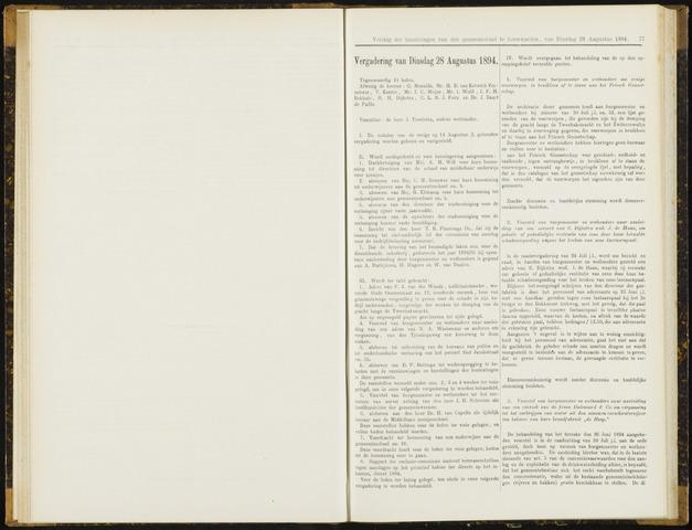Raadsverslagen van de gemeente Leeuwarden, 1865-2007 (Notulen) 1894-08-28
