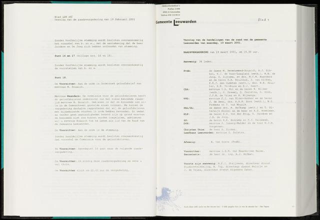 Raadsverslagen van de gemeente Leeuwarden, 1865-2007 (Notulen) 2001-03-19