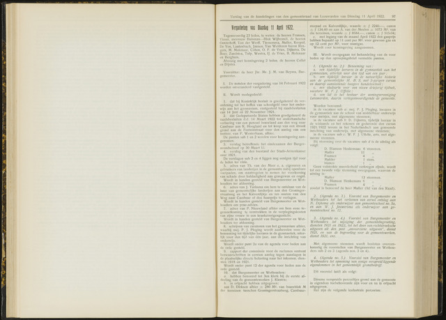 Raadsverslagen van de gemeente Leeuwarden, 1865-2007 (Notulen) 1922-04-11