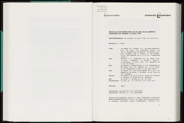 Raadsverslagen van de gemeente Leeuwarden, 1865-2007 (Notulen) 1994-04-12