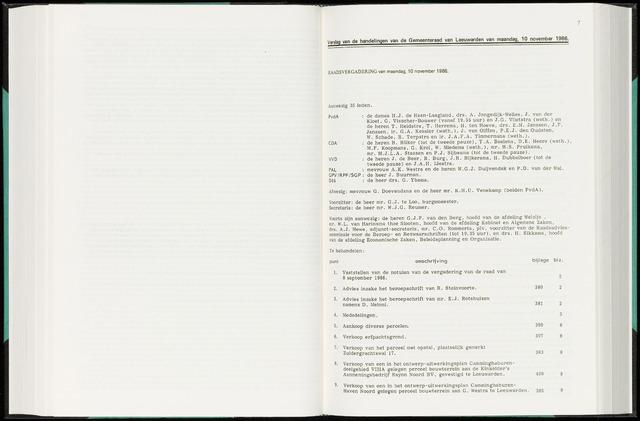 Raadsverslagen van de gemeente Leeuwarden, 1865-2007 (Notulen) 1986-11-10