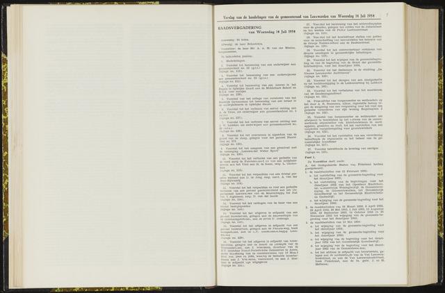 Raadsverslagen van de gemeente Leeuwarden, 1865-2007 (Notulen) 1954-07-14
