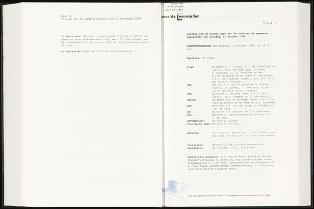 Raadsverslagen van de gemeente Leeuwarden, 1865-2007 (Notulen) 1999-10-11