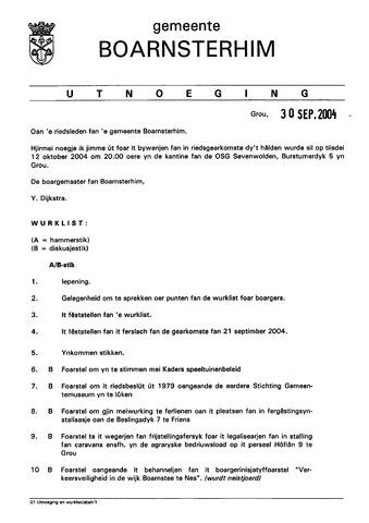 Boarnsterhim vergaderstukken gemeenteraad  2004-10-12