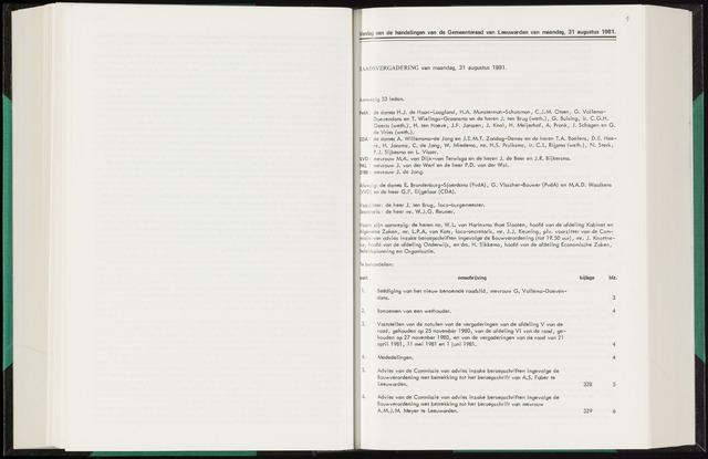 Raadsverslagen van de gemeente Leeuwarden, 1865-2007 (Notulen) 1981-08-31