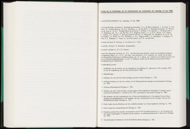 Raadsverslagen van de gemeente Leeuwarden, 1865-2007 (Notulen) 1980-05-12