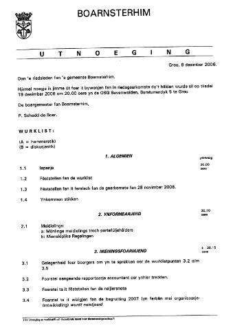 Boarnsterhim vergaderstukken gemeenteraad  2006-12-19
