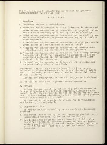 Notulen van de gemeenteraad van Leeuwarderadeel 1962-07-27