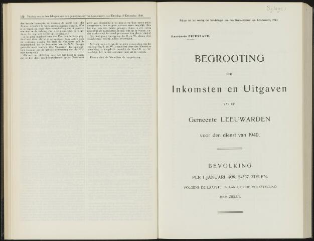 Raadsverslagen van de gemeente Leeuwarden, 1865-2007 (Bijlagen) 1940-01-01