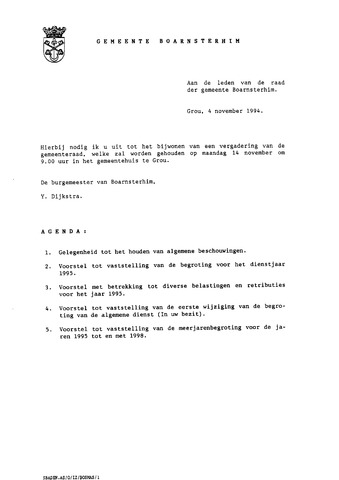 Boarnsterhim vergaderstukken gemeenteraad  1994-11-14