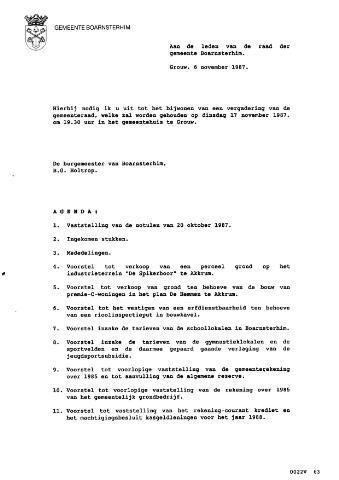 Boarnsterhim vergaderstukken gemeenteraad  1987-11-17