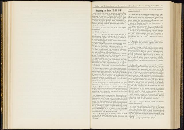 Raadsverslagen van de gemeente Leeuwarden, 1865-2007 (Notulen) 1919-07-22