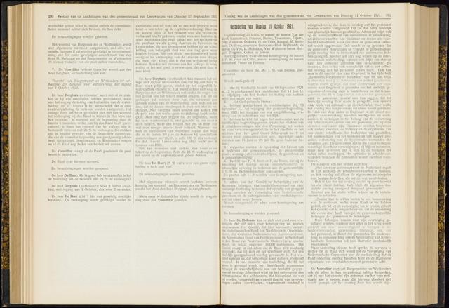 Raadsverslagen van de gemeente Leeuwarden, 1865-2007 (Notulen) 1921-10-11