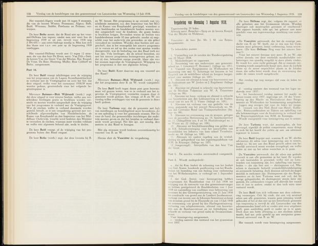 Raadsverslagen van de gemeente Leeuwarden, 1865-2007 (Notulen) 1938-08-03