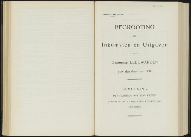 Raadsverslagen van de gemeente Leeuwarden, 1865-2007 (Bijlagen) 1934-01-01