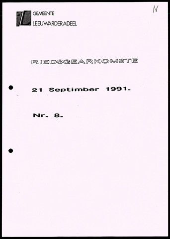 Notulen van de gemeenteraad van Leeuwarderadeel 1991-09-21