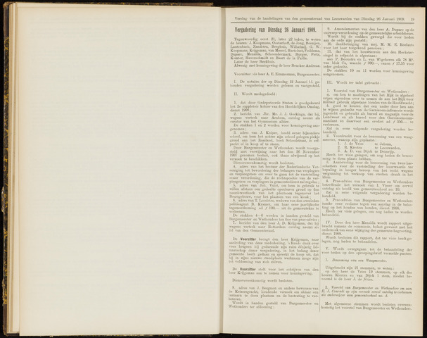 Raadsverslagen van de gemeente Leeuwarden, 1865-2007 (Notulen) 1909-01-26