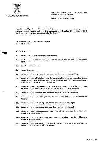 Boarnsterhim vergaderstukken gemeenteraad  1988-12-20