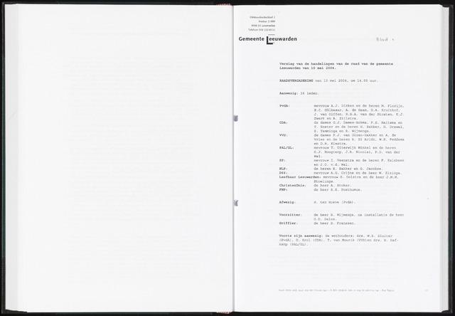 Raadsverslagen van de gemeente Leeuwarden, 1865-2007 (Notulen) 2004-05-10