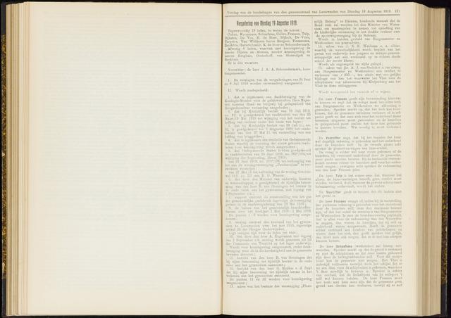 Raadsverslagen van de gemeente Leeuwarden, 1865-2007 (Notulen) 1919-08-19