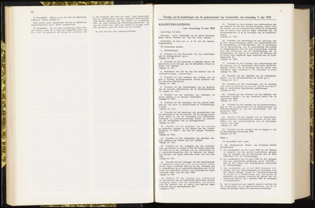 Raadsverslagen van de gemeente Leeuwarden, 1865-2007 (Notulen) 1960-05-11