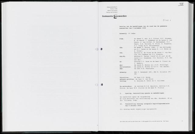 Raadsverslagen van de gemeente Leeuwarden, 1865-2007 (Notulen) 2006-11-06