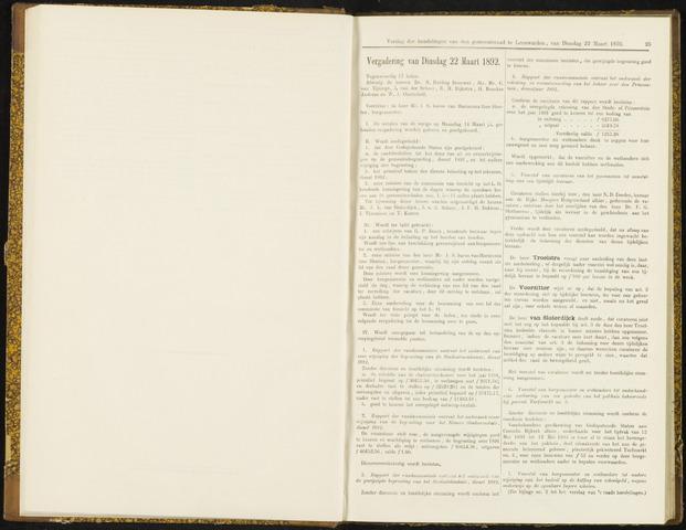 Raadsverslagen van de gemeente Leeuwarden, 1865-2007 (Notulen) 1892-03-22